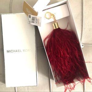 MK Burgundy bag charm feather